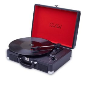 CLAW Stag Portable Vinyl Record Player Turntable with Built-in Stereo Speakers (Black)
