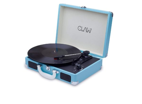 CLAW Stag Portable Vinyl Record Player Turntable with Built-in Stereo Speakers (Blue)
